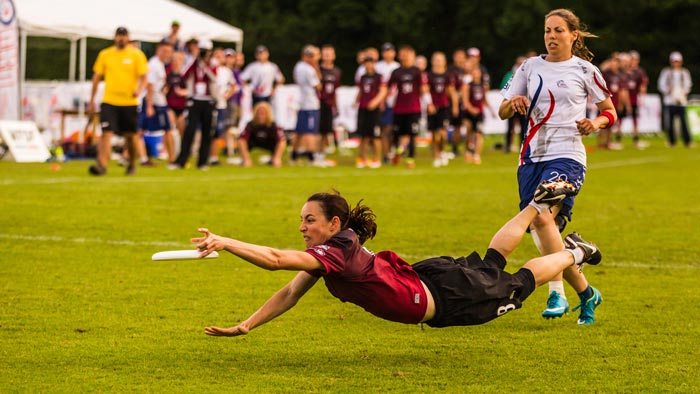 Christy Mader dives to make the play at the World Championships in Ultimate in London, 2016