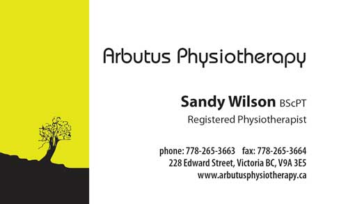 business card face for Arbutus Physio