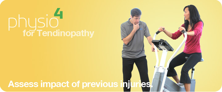 Physiotherapist assessing impact of previous injury of a patient on a stationary cycle.