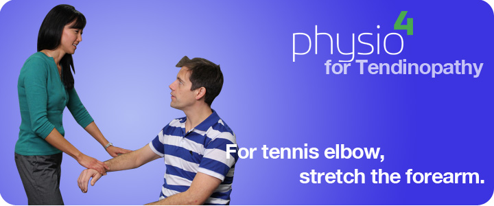 Physiotherapist showing patient how to gently stretch forearm.