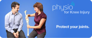 Physiotherapist showing a patient how the knee joint works