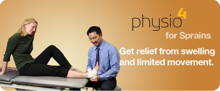 A physio treats a patient who has swelling and a sprain.