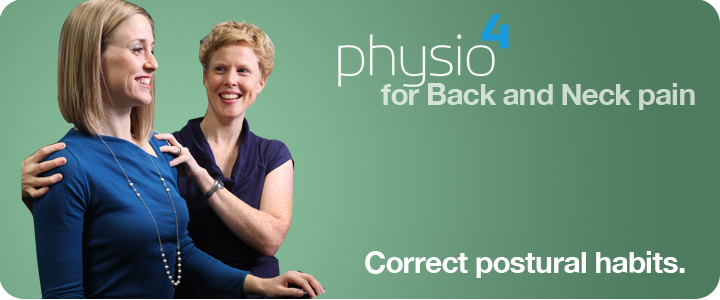 A physiotherapist helps a client work on her posture and develop better postural habits.