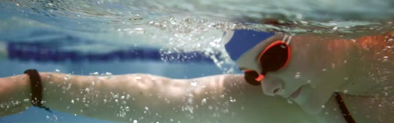 A swim takes long strokes doing the front crawl in the swimming pool.