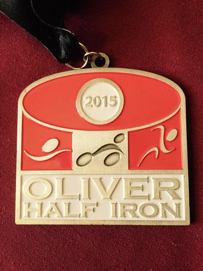 Oliver Half Triathlon Medal 2015
