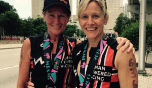 Sandy and XX relax after the Ironman Miami race