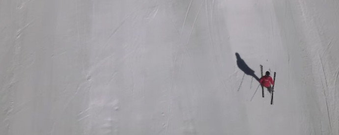 Kelsey Serwa carves up the mountain side during practice in Whistler - ski cross