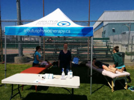 The Arbutus Physiotherapy and Health Centre tent at the Triathlon of Compassion