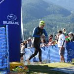 Debbie Jackson leaves the water at the Whistler Ironman Triathlon 70.3