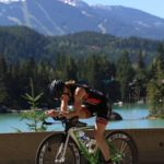 Sandy Wilson on her bike in the Whistler Ironman Triathlon 70.3