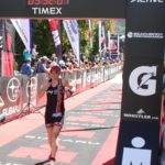 Sandy Wilson crosses the line at the 70.3 Ironman Triathlon in Whistler BC Canada
