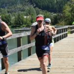 Sandy Wilson on the run at the Ironman Triathlon 70.3 in Whistler