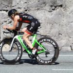 Sandy Wilson on the bike at the Ironman Triathlon 70.3 in Whistler BC Canada