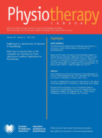 Physiotherapy Canada journal cover: Volume 68 Number 4 Fall 2016