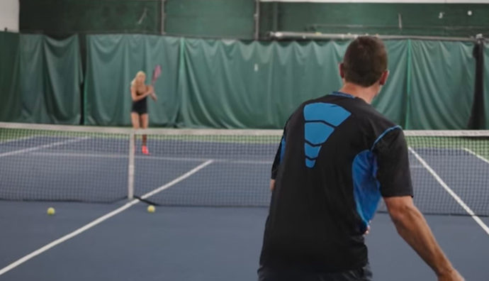 Garry and Alli Valk play tennis, work out.