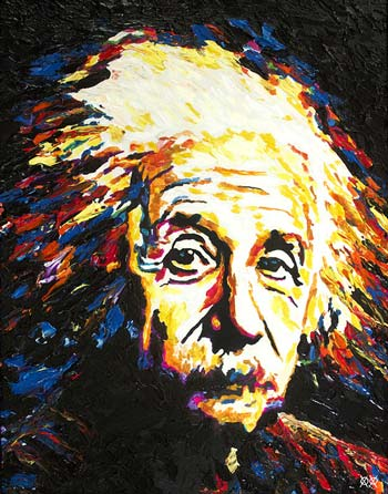 A portrait of Einstein by John Bramblitt