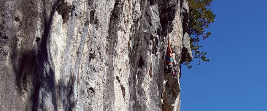 Christy Mader hangs high, high up on a rock cliff on Vancouver Island