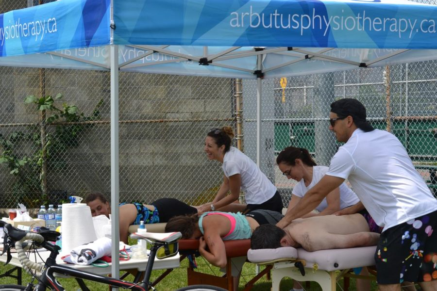 Arbutus physiotherapy tent at the Tri of Compassion, 2017.