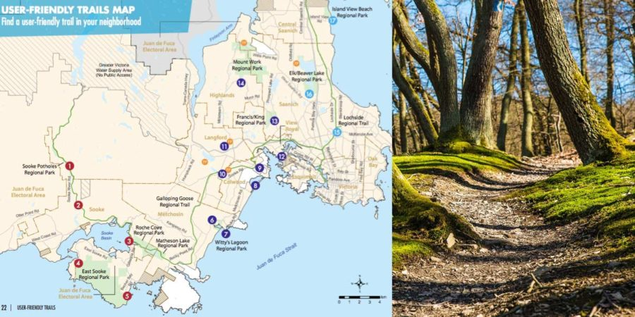 CRD map of trails and accessibility in the Great Victoria area.