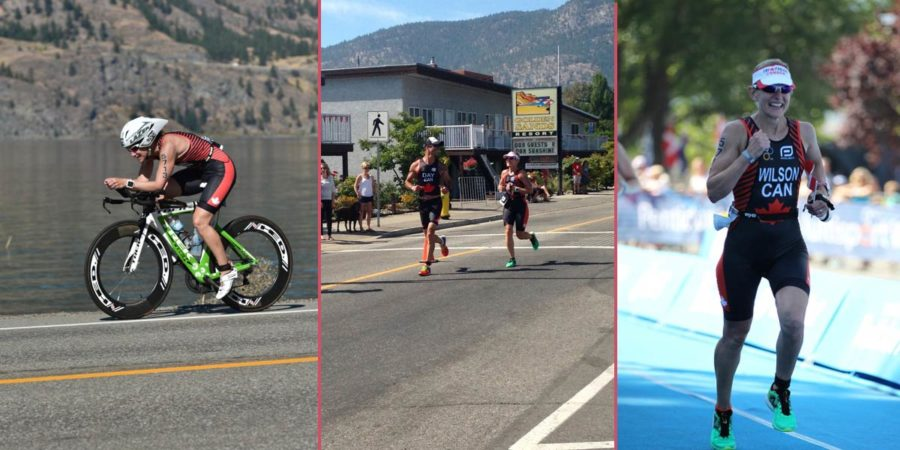 Sandy on her bike and in the run in Penticton, 2017.