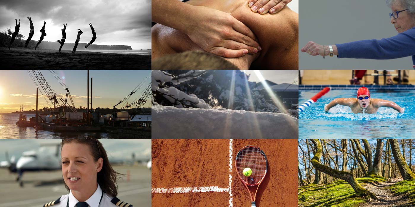 A round up of cover images from various articles published in 2017: massage, chiropractic, pilot, tennis racquet and more.