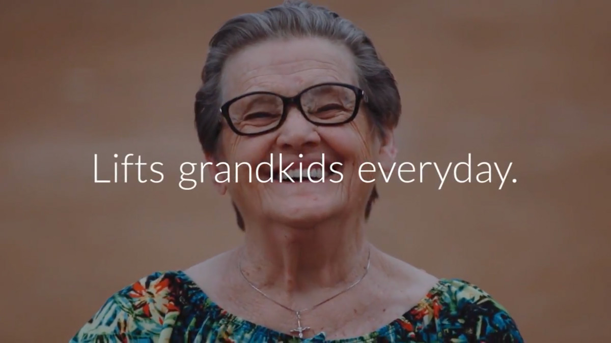 A grandmother: lifts grandkids everyday.