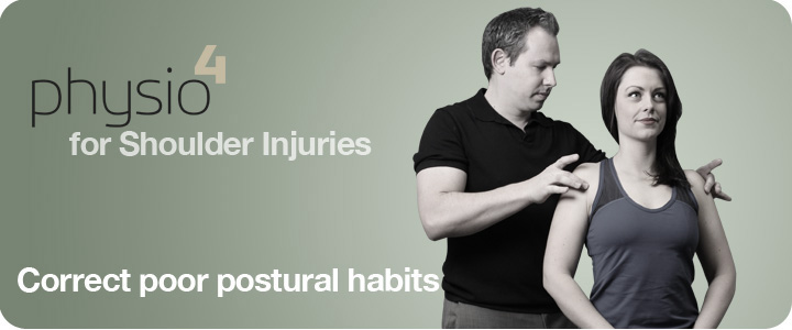 Physiotherapist showing patient how to strengthen shoulder muscles and correct poor postural habits