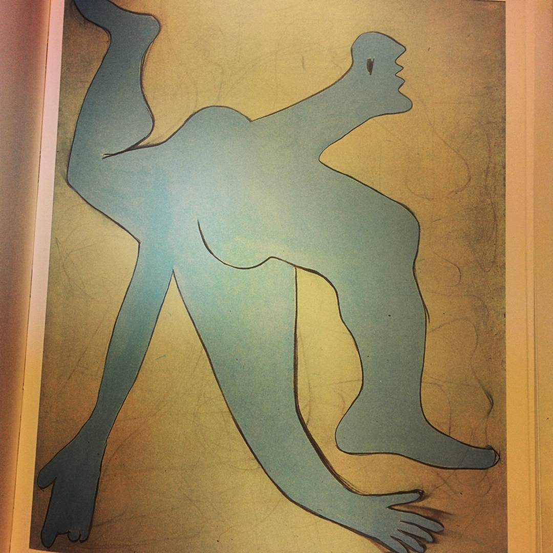 This is The Acrobat by Pablo Picasso from 1929. It shows a contorted light blue figure on a yellow background.