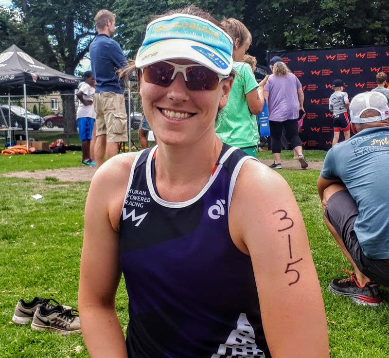 Barbara Rober smiles after winning the Triathlon of Compassion.
