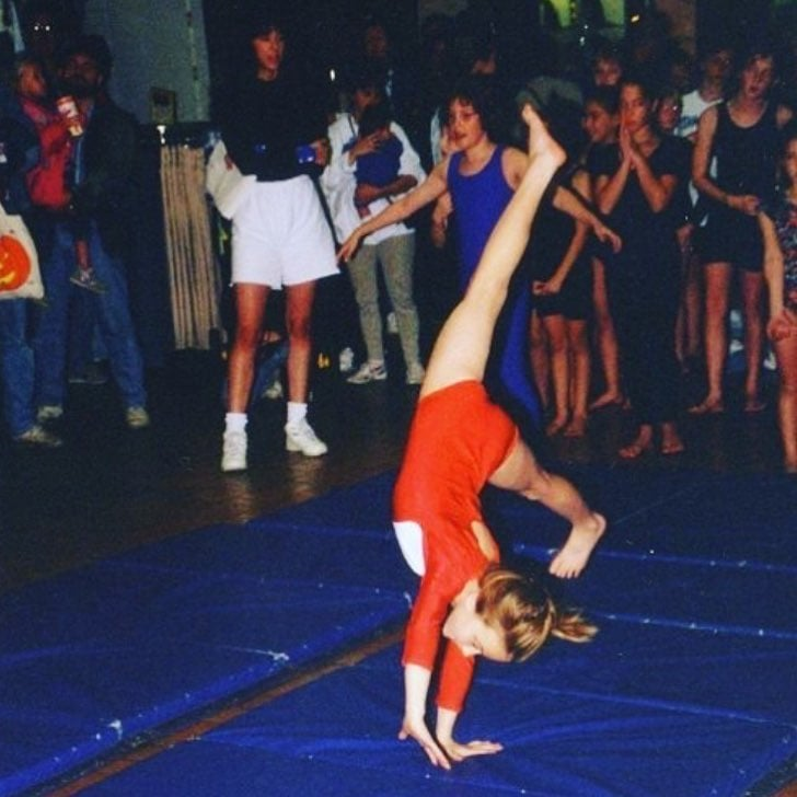 This is an image of fawn when she was doing gymnastics, and it shows her cartwheeling!