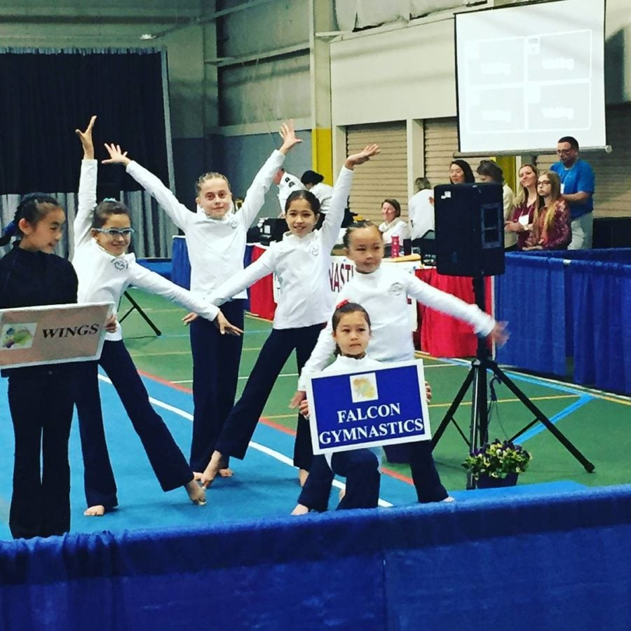This shows the gymnastics team at the invitational holding a sign and posing for a group photo.