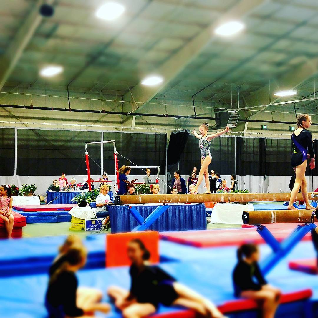 This is a photo of young gymnasts on balance beams in a large gym space.