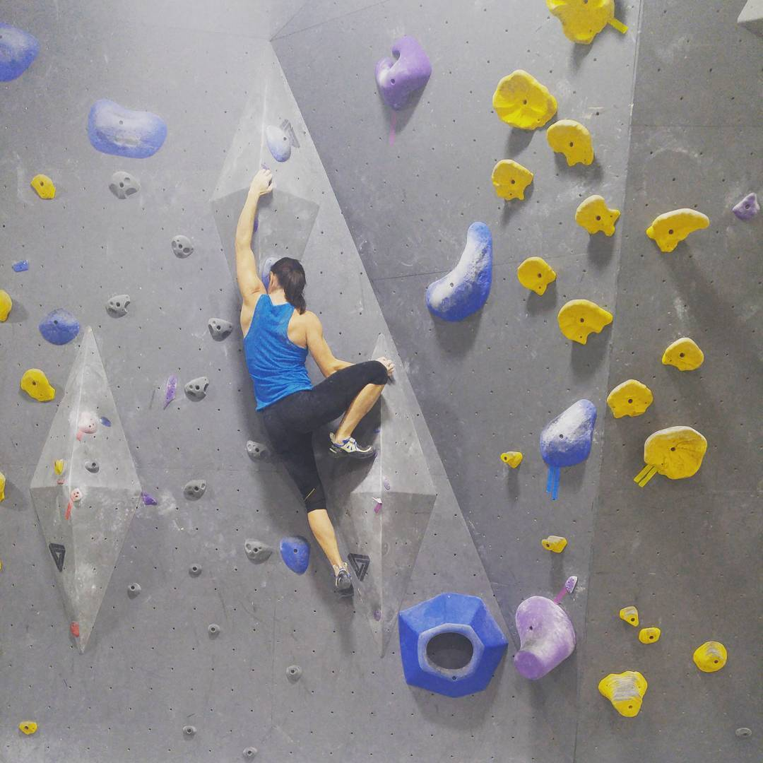 This is a photo of Christy on a climbing wall inside with her brown hair in a pony tail. She is in a blue tank and black tights. The wall is grey, and the hand holds are yellow and blue and purple.
