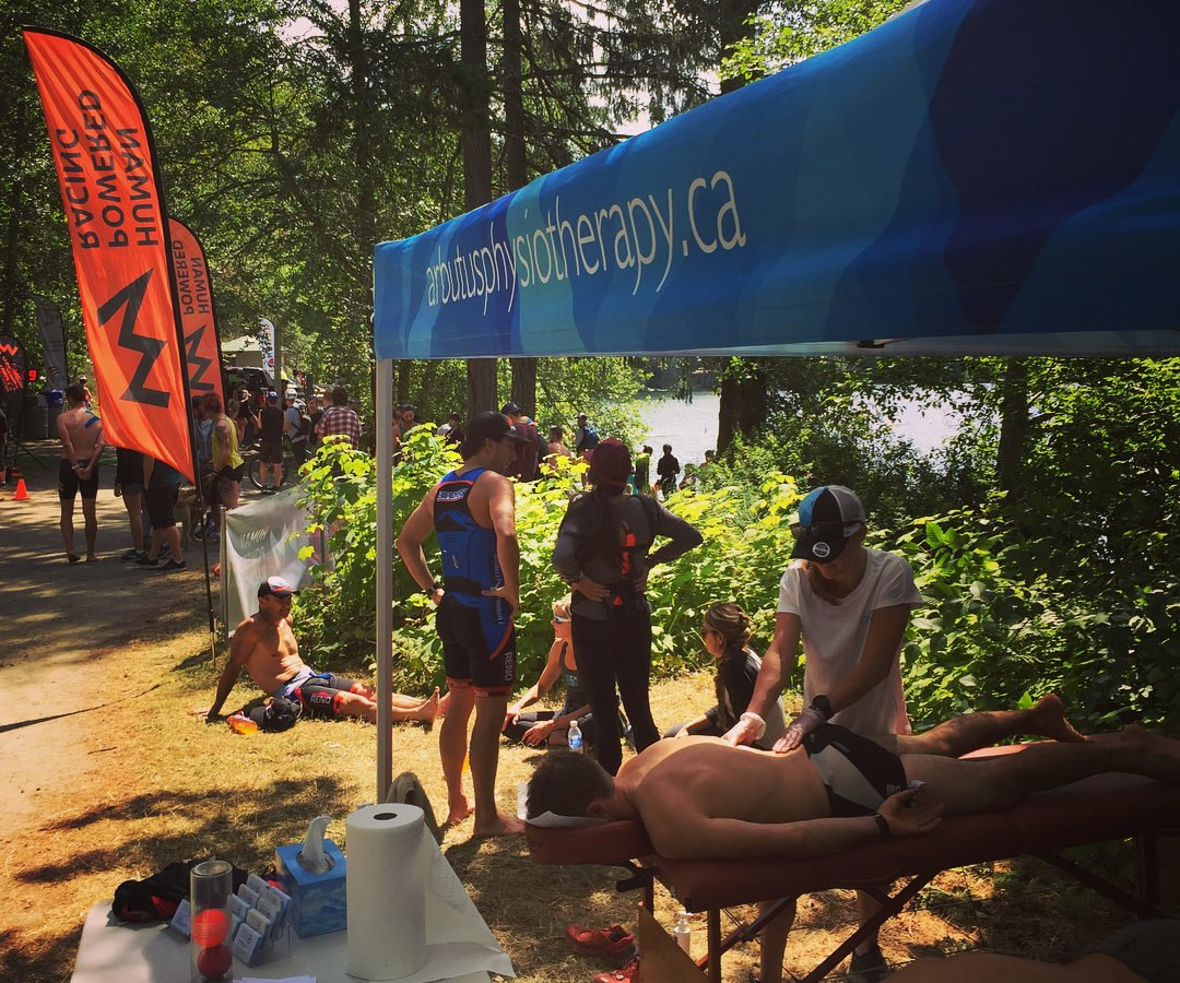 The Arbutus team helps out athletes after the XTERRA Victoria race.