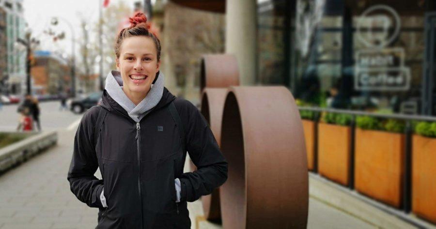 Gillian Carleton smiles on the corner of Yates and Blanshard by Habit Coffee.