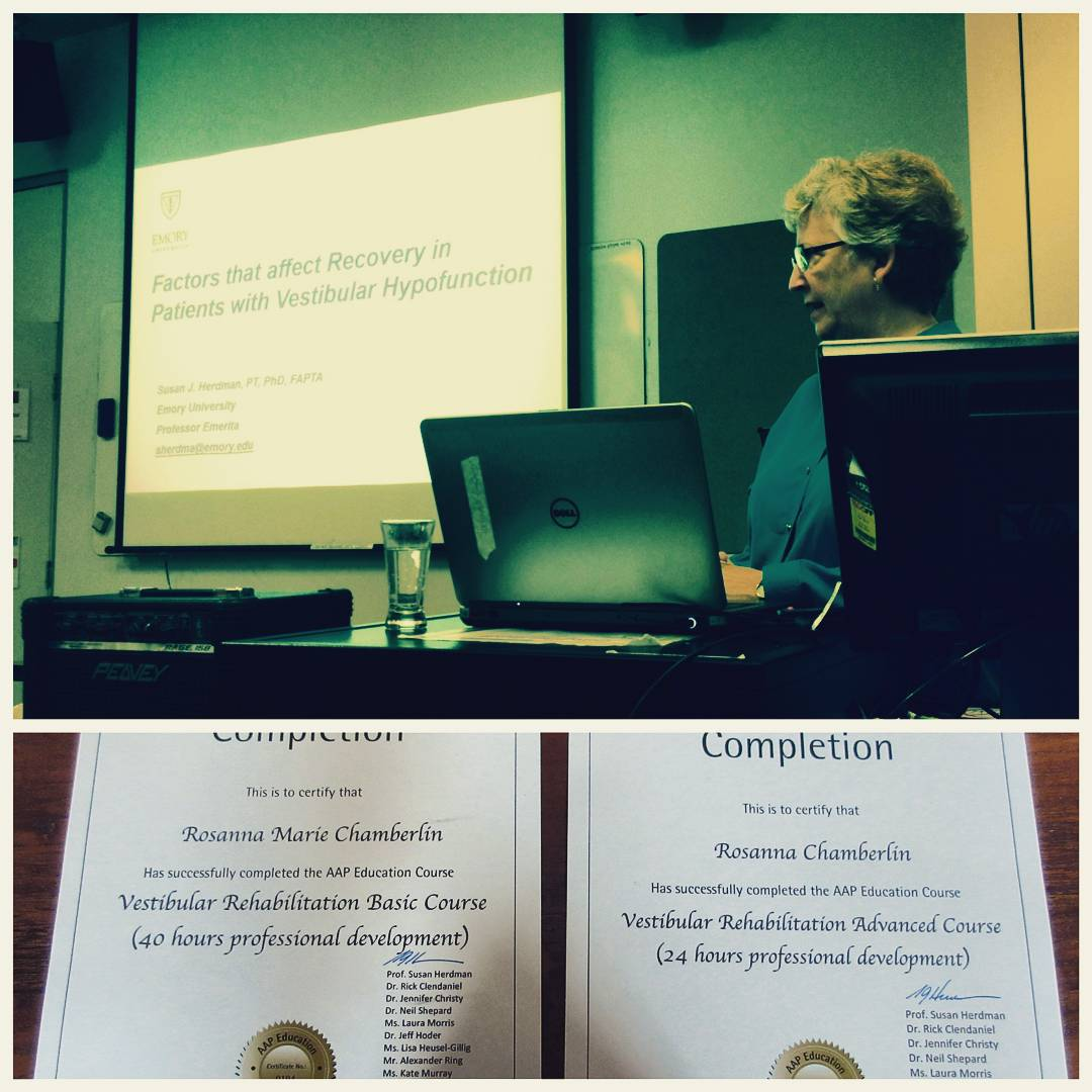 "Three different photos with one longer one on top and two in the bottom half. The top is a woman who is right of center standing next to a projected slide that says ""Factors that Effect Recovery in Patients with Vestibular Hypofunction."" The bottom two are completion certificates for Rosie that she has completed the Vestibular Rehabilitation Basic and Advanced courses."
