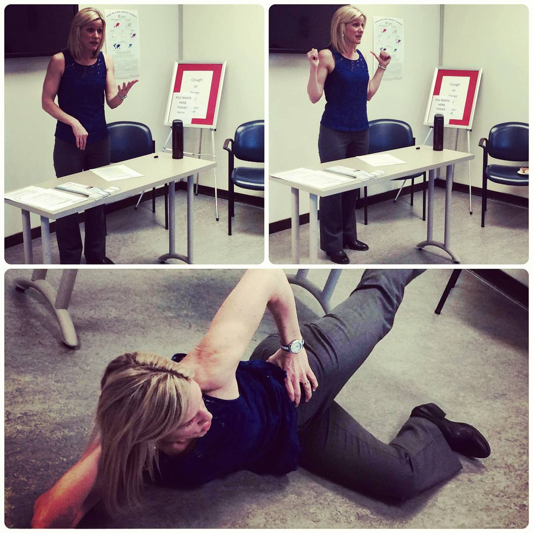 There are three photos here. The one on the bottom is of a blonde woman lying on her right side with her left hand on her hip. She has her left leg in the air, and is stabilizing herself with her right leg on the ground. The one in the top left and top right are of the same woman standing behind a white table with papers and a black coffee mug on it. She is talking with her hands.
