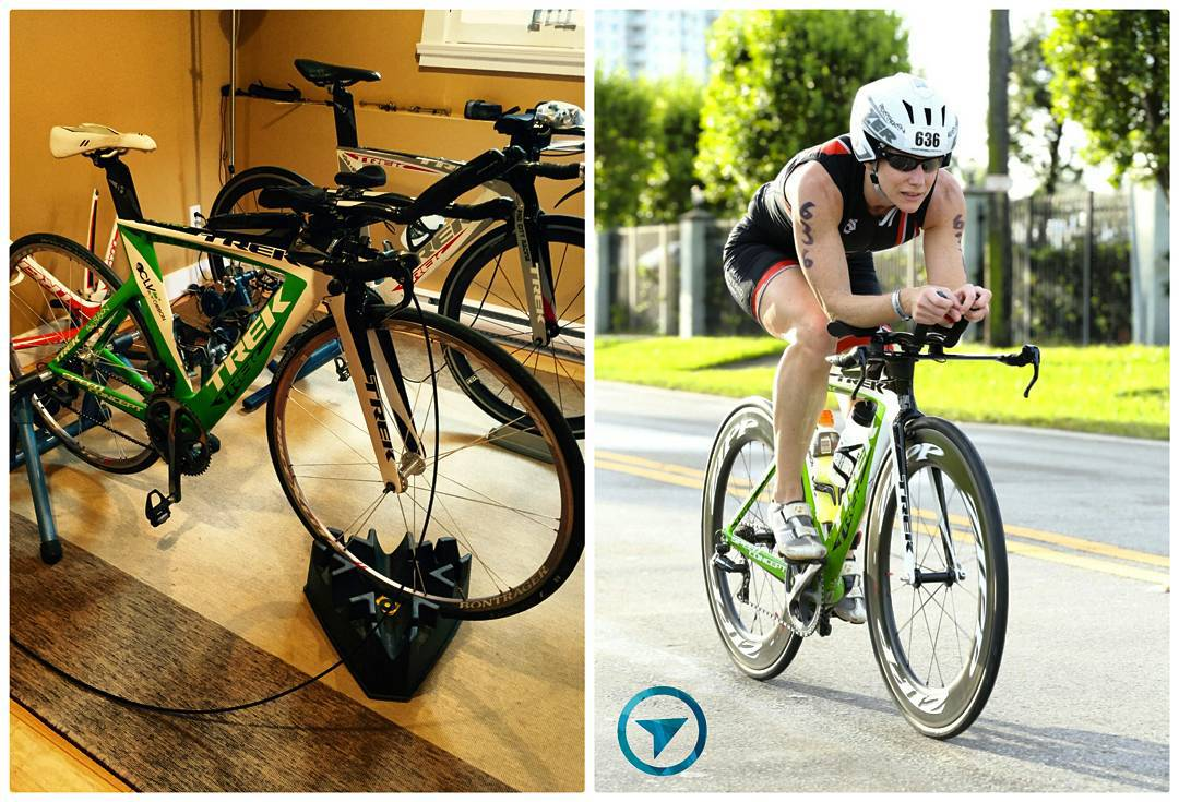 On the left side is an image of a green bike in a brown room propped up on black plastic stands for its tires so that it can be used as a stationary bike. On the right is a photo of a woman on the green bike who is biking on the road on a sunning day with green trees behind her.