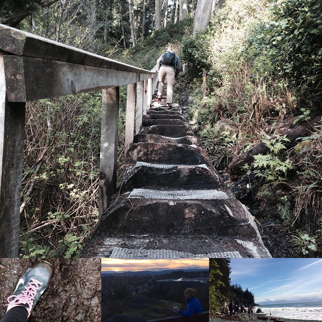 The top photo take up almost the whole image and is a view up a steep set of outdoor stairs in a forest with a man near the top. There are three small ones lined up on the bottom. The left is a woman's running shoe on a trail. The middle is a sunrise view across a green cityscape with a man in the foreground wearing a blue jacket and yellow tuq. The right is a beach with evergreen trees on the left and the ocean on the right.