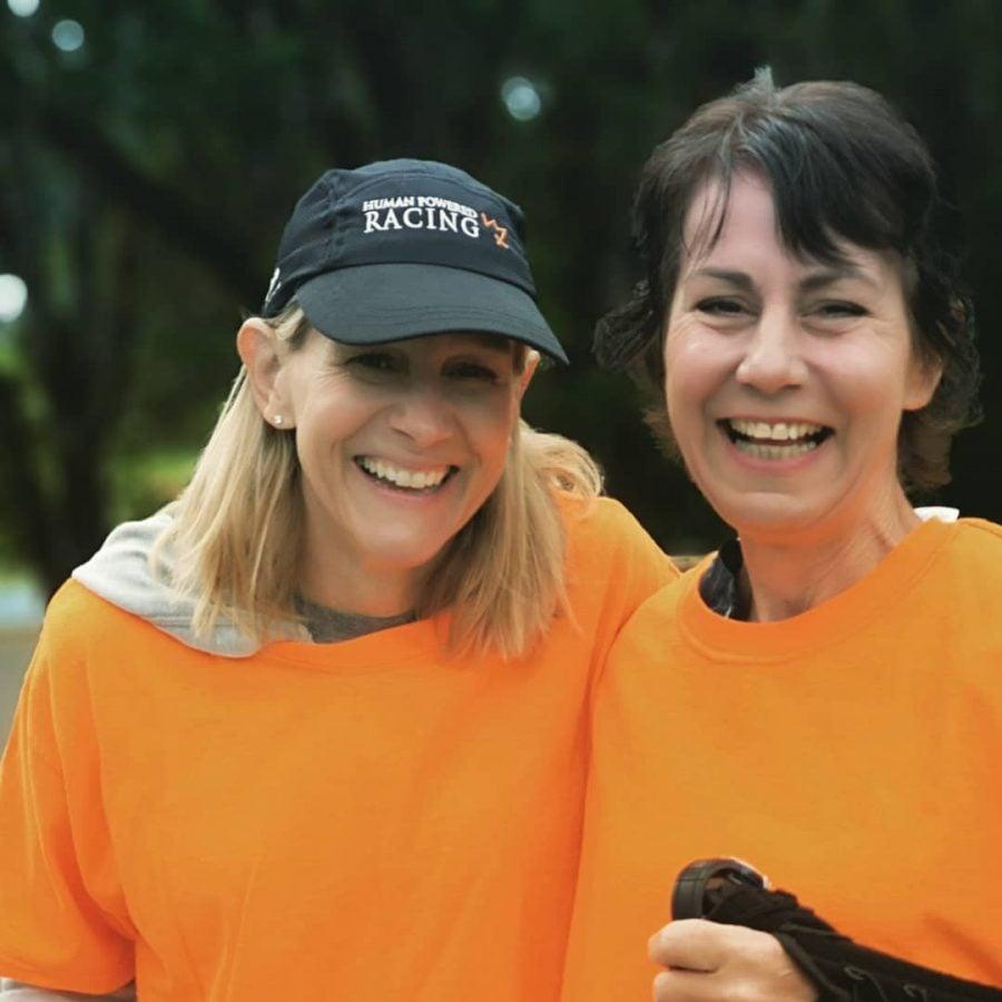 Sandy Wilson and Rob's partner volunteering at the Westshore Youth Triathlon