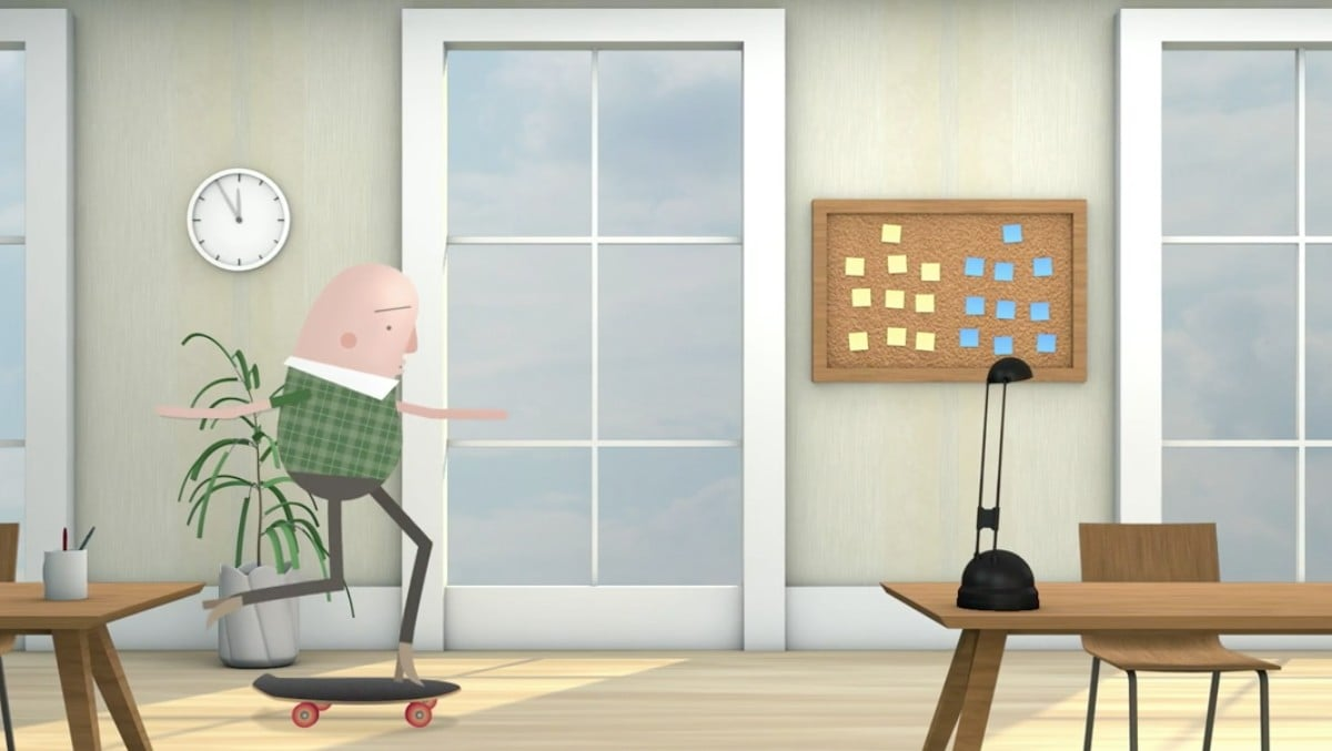 An animated image of a masculine person skateboarding through an office.