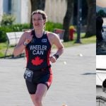 "Kiah running down a paved road, arms pumping at her sides, in a black, red, and white triathlon body suit that reads ""Wheeler CAN"""