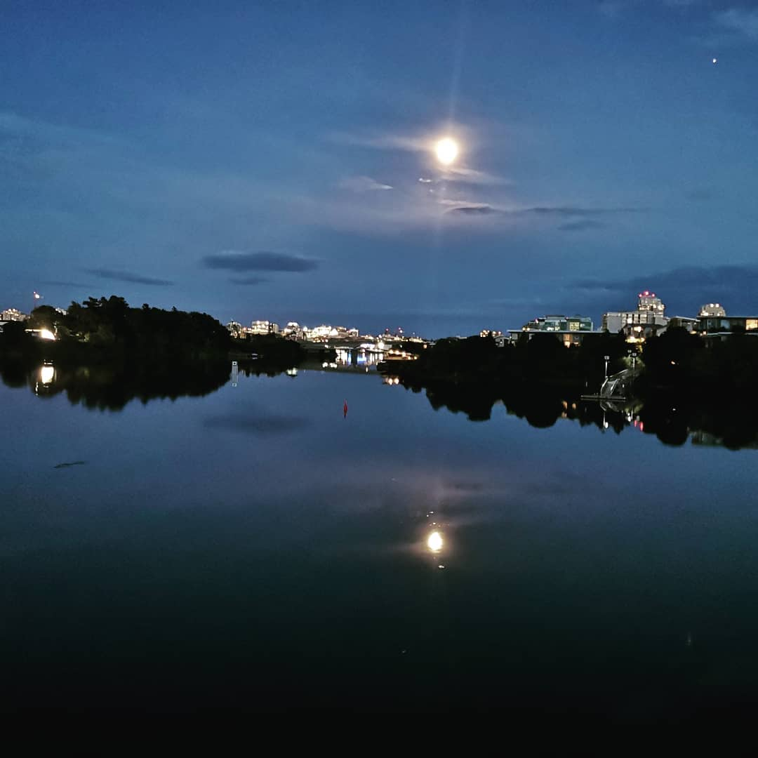 Looking across dark water to a city at night with the moon in the sky.