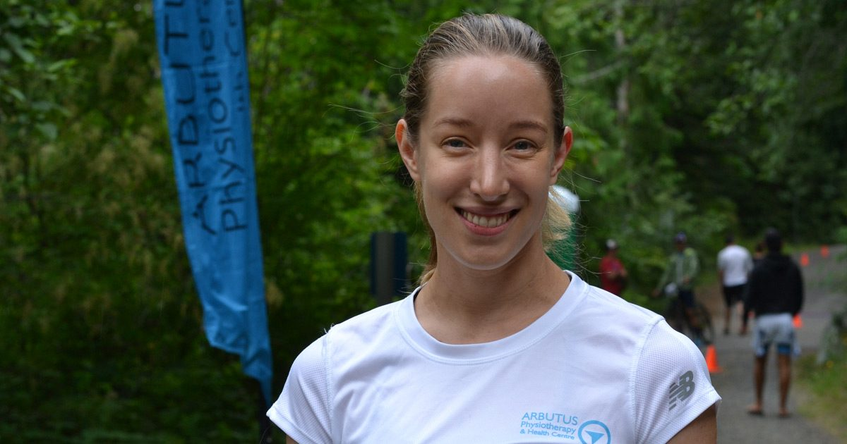 Elizabeth (Beth) May is a physiotherapist and helps out at the XTERRA Victoria race at Durrance Lake.