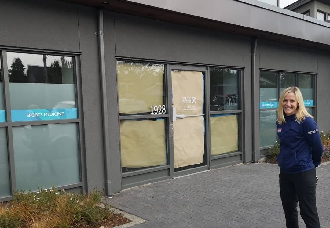 Sandy Wilson at 1928 Oak Bay Ave before the new clinic opens.