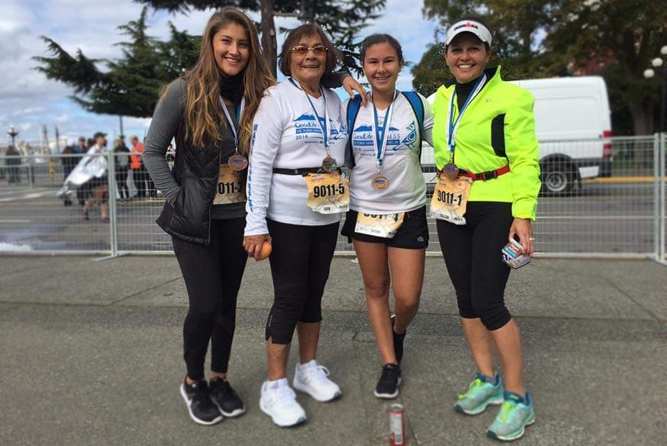 Stephanie Holbrook's family at the Oak Bay Marathon in 2019, with three generations of women.