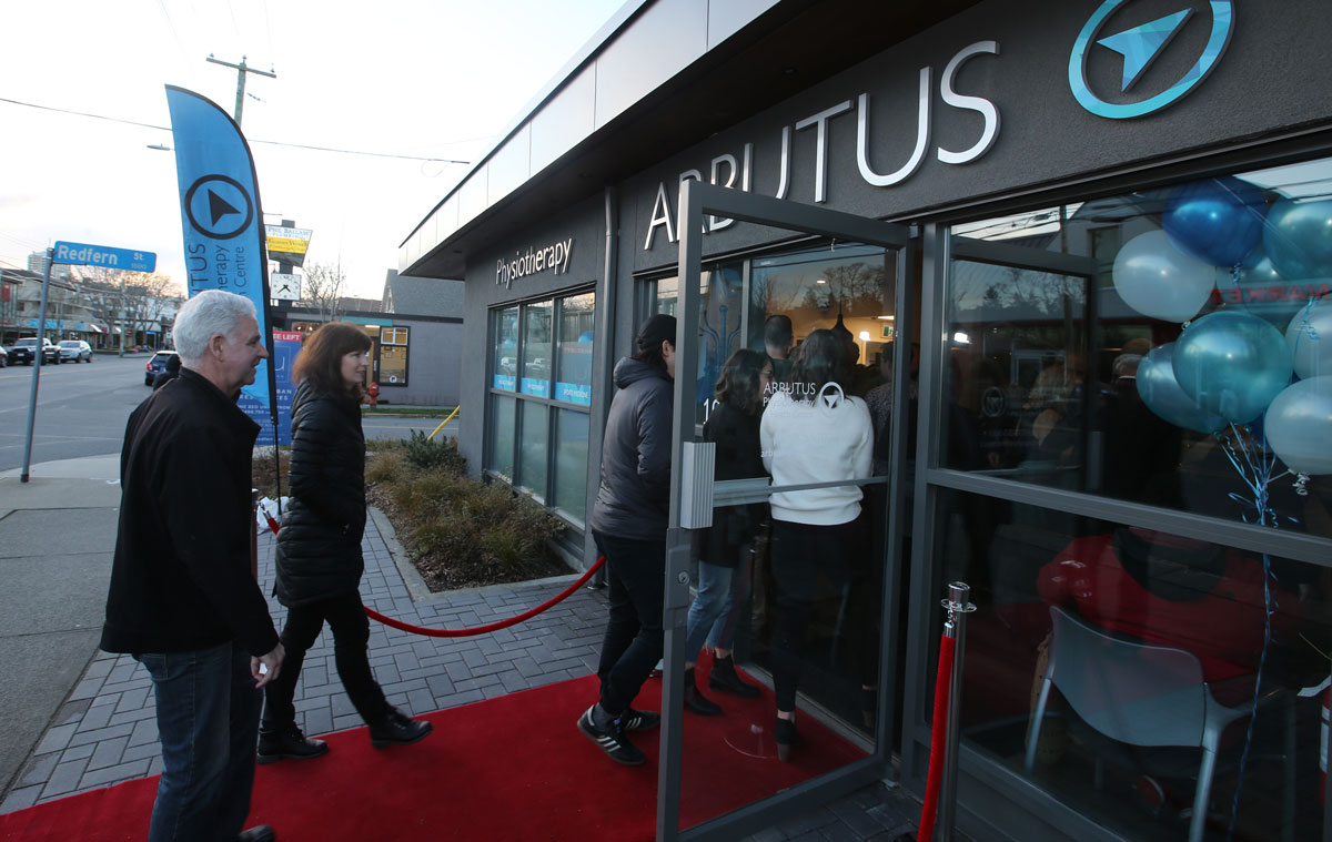 Neighbours from Victoria and Oak Bay and Sidney arriving at the Arbutus Physiotherapy grand opening.