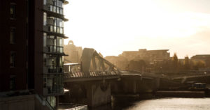 The Victoria Johnson Street Bridge in the morning light, looking glorious.