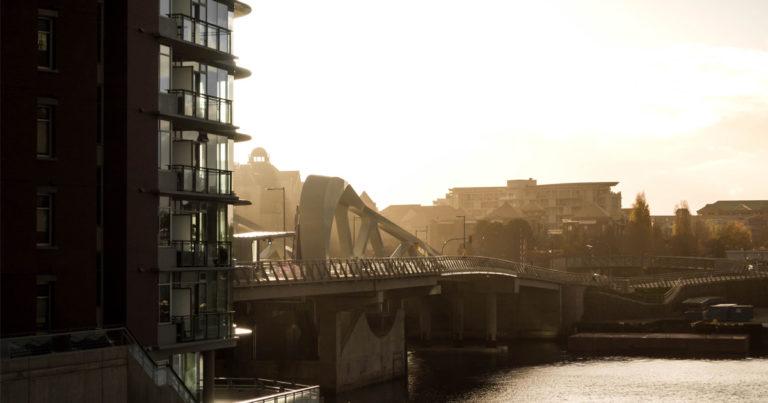The Victoria Johnson Street Bridge in the morning light, looking glorious.