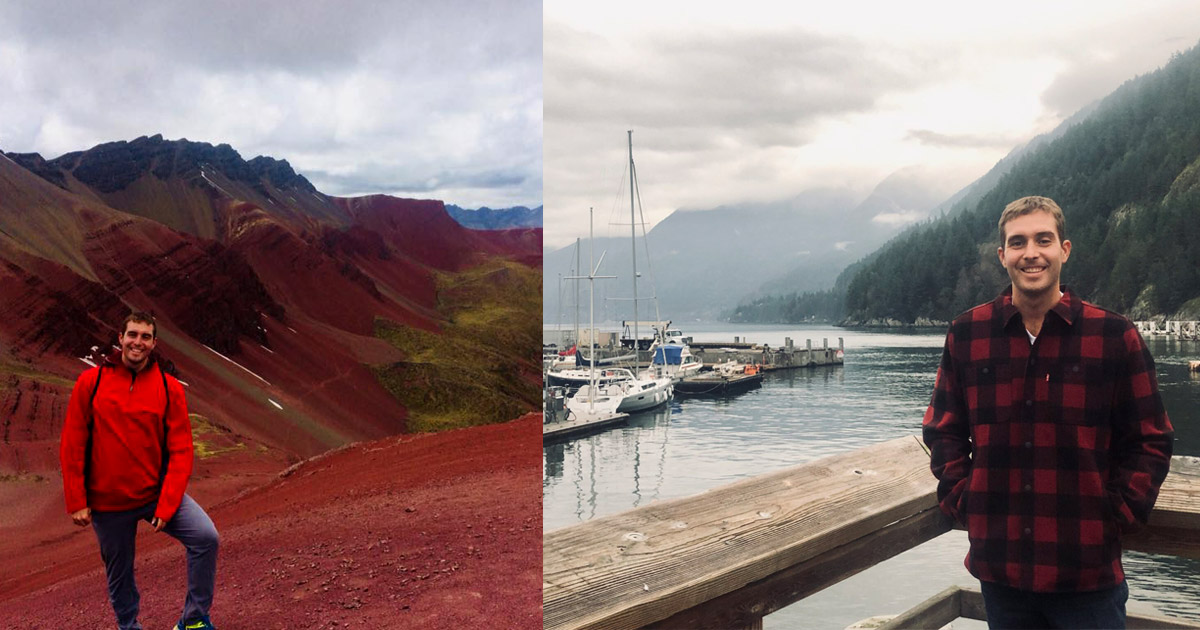 Two images: Left: Brandon stands on the left in a red jacket and sweat pants smiling against a receding mountain range of red soil. Right: Brandon stands again a wooden railing in a red flannel smiling. Behind him is a harbour with boats and a shop with tree-covered mountains to the right.